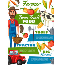 farmer or gardener with cow vegetables tractor vector image