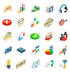 finance center icons set isometric style vector image