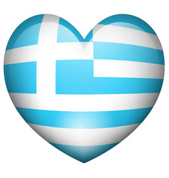 flag of greece in heart shape vector image