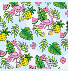 flemish with tropical fruits and leaves background vector image