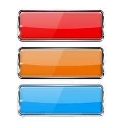 glass buttons rectangle 3d buttons with metal vector image