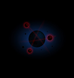 Halftone 3d black molecule with red atoms vector