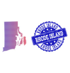 halftone gradient map of rhode island state and vector image