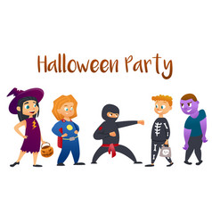 Halloween kids costume party group of kids in vector