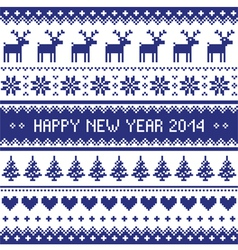 Happy New Year 2014 scandynavian christmas pattern vector image