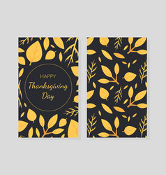 happy thanksgiving day card template with autumn vector image