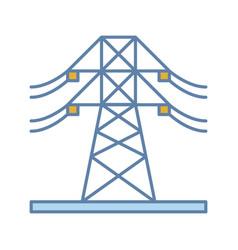 High voltage electric line color icon vector