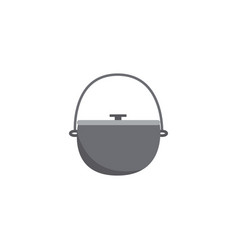 icon metal hiking pot or cauldron in flat style vector image