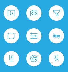Image icons line style set with hdr off monitor vector