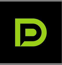 initials dp negative space minimal logo design vector image