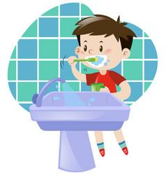 little boy brushing his teeth vector image