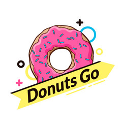 Logo with donut dynamic logo vector