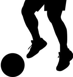 Man feet silhouette with ball vector