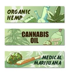 Marijuana banner set vector