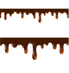 melted chocolate seamless borders with clipping vector image