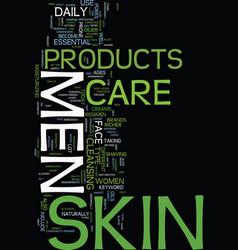 Mens skin care products text background word vector