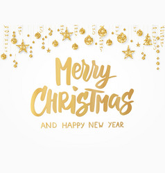 Merry christmas card hand drawn lettering golden vector