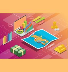 nanjing china city isometric financial economy vector image