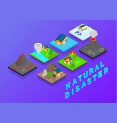 Natural disaster clip art isometric style vector