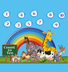 Number one to ten with blue sky and colorful vector