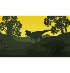 On the hills silhouette ankylosaurus and vector image