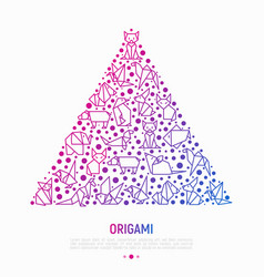 Origami concept in triangle with thin line icons vector