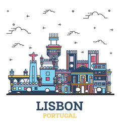 outline lisbon portugal city skyline with colored vector image