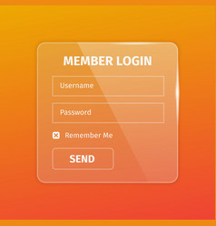 Outline member login box on orange vector