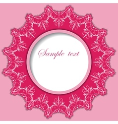 Paper round frame with lace pattern vector