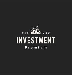 peak investment arrow chart hipster vintage logo vector image