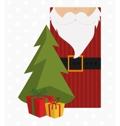 Pine tree and santa label of Christmas season vector