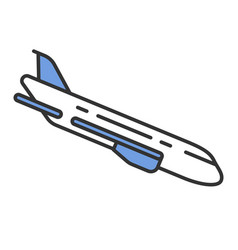Plane flying down color icon vector