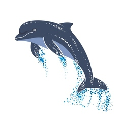 Playing and jumping dolphin vector