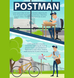 Postman poster with post office and mail delivery vector