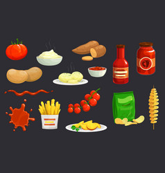 Potato chips french fries ketchup tomato sauce vector