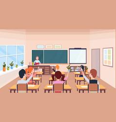Pupils raising hands to answer question teacher vector