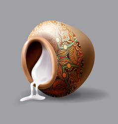 Realistic inverted clay pot with sour cream vector