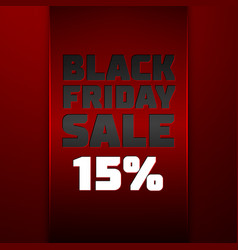 Red ribbon with black friday sale fifteen percent vector