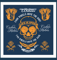 retro motorcycle label badge and design elements vector image