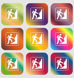 rock climbing sign icon Nine buttons with bright vector image