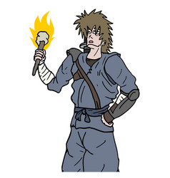 Samurai with torch vector