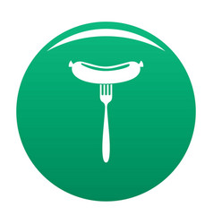 sausage on fork icon green vector image