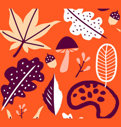 seamless autumn leaves orange pattern background vector image