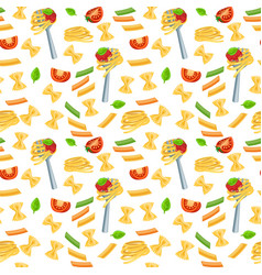 Seamless pattern with italian pasta vector
