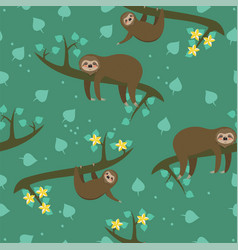 seamless pattern with sloths for fabric or vector image