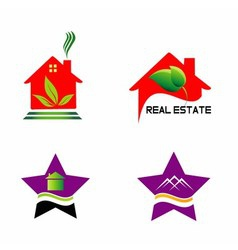 Set isolated house logo real estate sign vector image