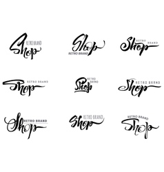 Shop word for signage stickers badges has vector