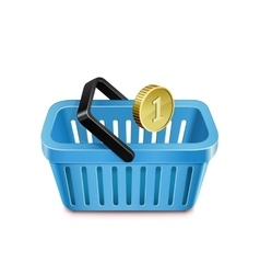 Shopping basket and coin vector
