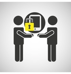 Silhouette men smartphone internet safety vector