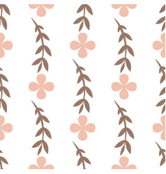 simple white seamless pattern with leaves and vector image